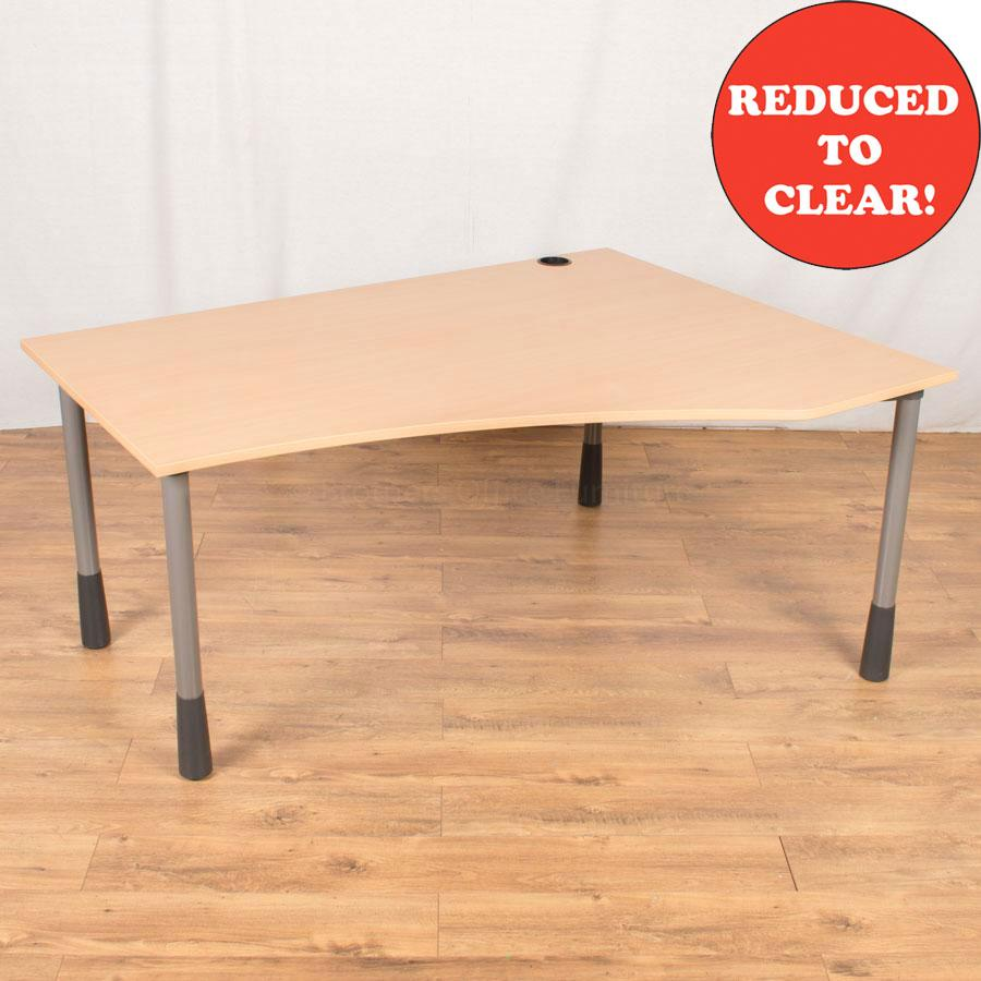 Kinnarps Beech Laminate Height Adjust Wave Desk