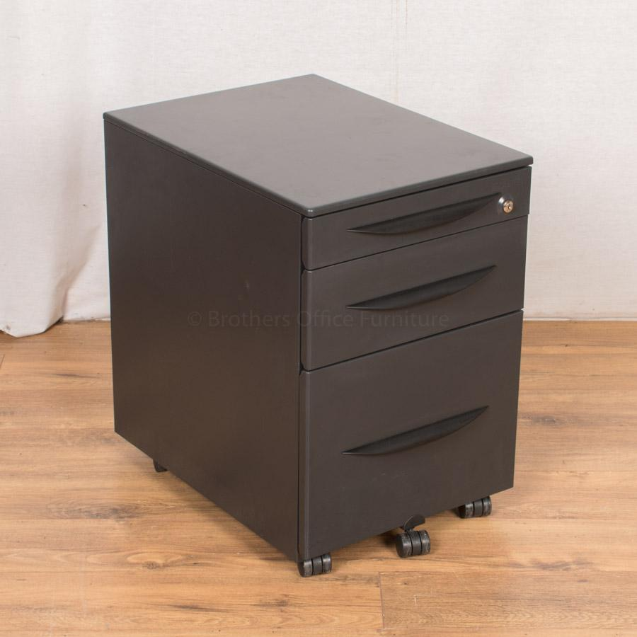 Castelli Dark Grey Steel 3 Drawer Pedestal
