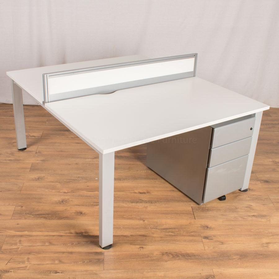 Senator Freeway White 1400x800 Bench Desk & Pedestal