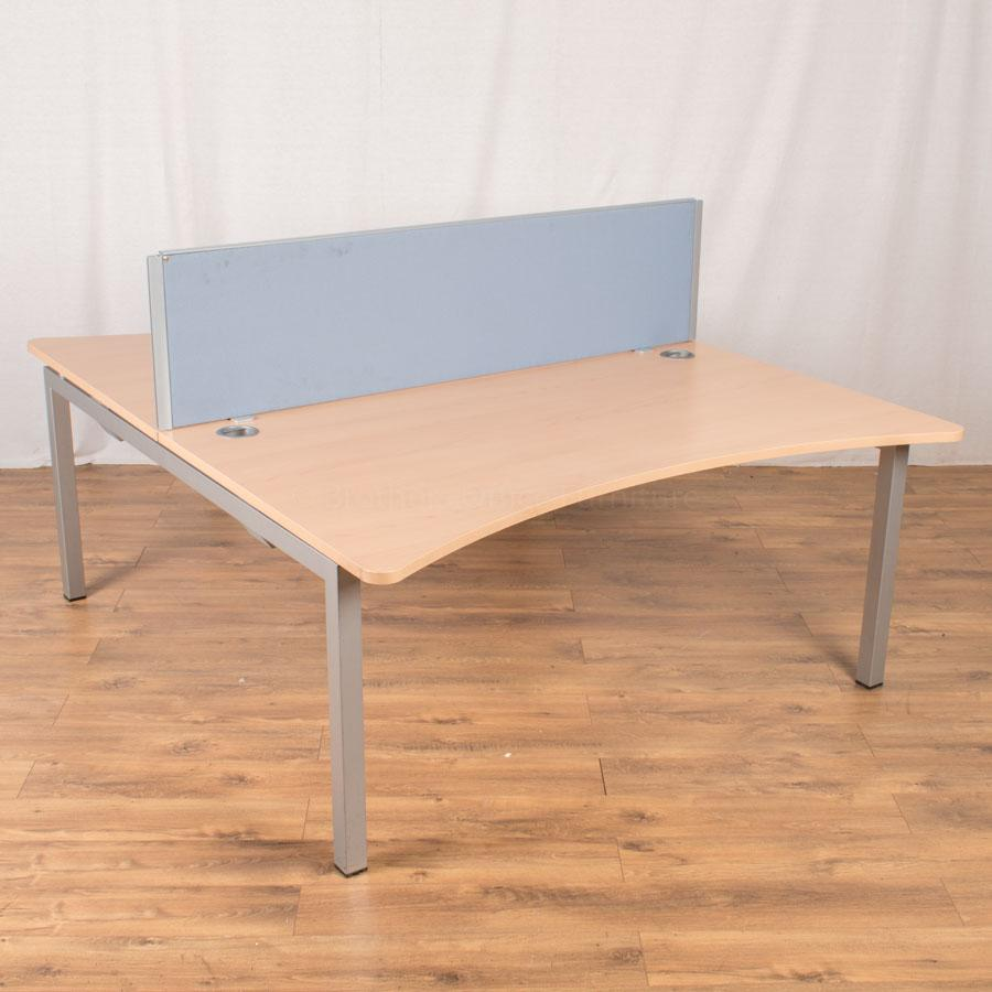 Quantum Beech 1600x975 Double Wave Bench Desk