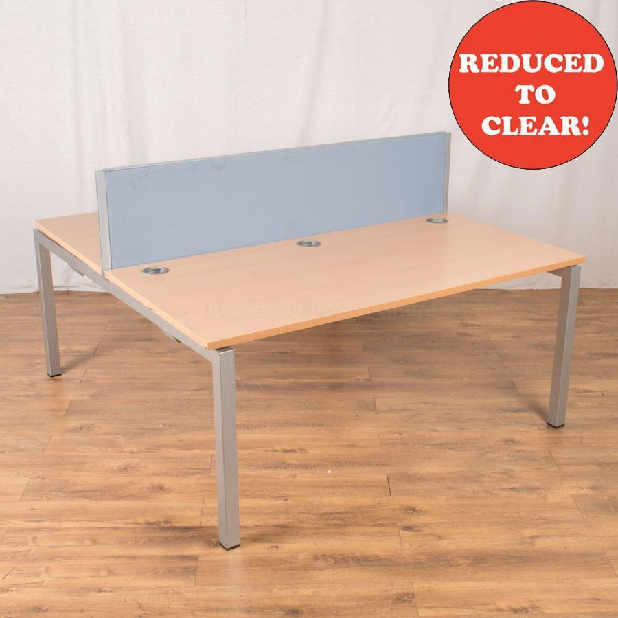 Quantum Beech 1600x800 Straight Bench Desk