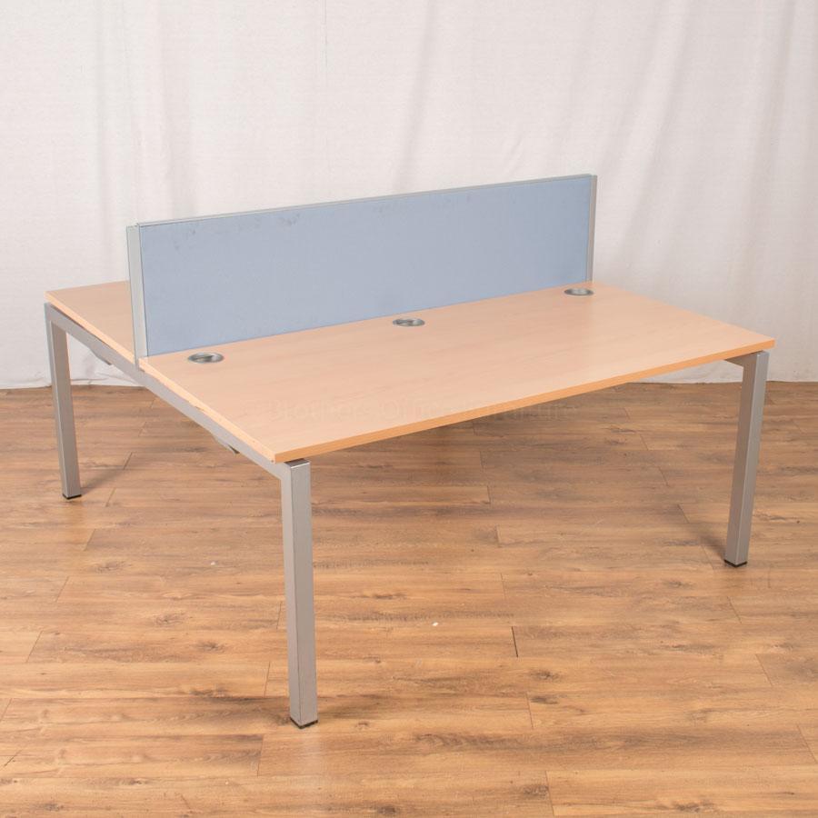 Quantum Beech 1600x800 Straight Bench Desk