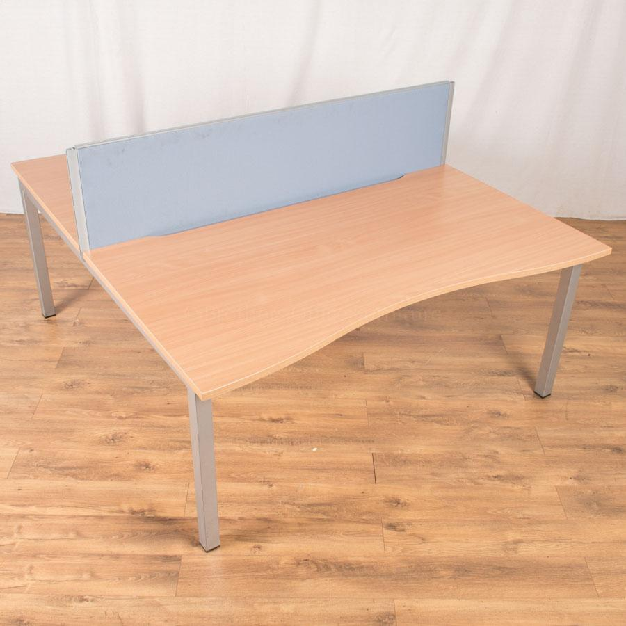 Sector Beech 1600x890 Double Wave Bench Desk