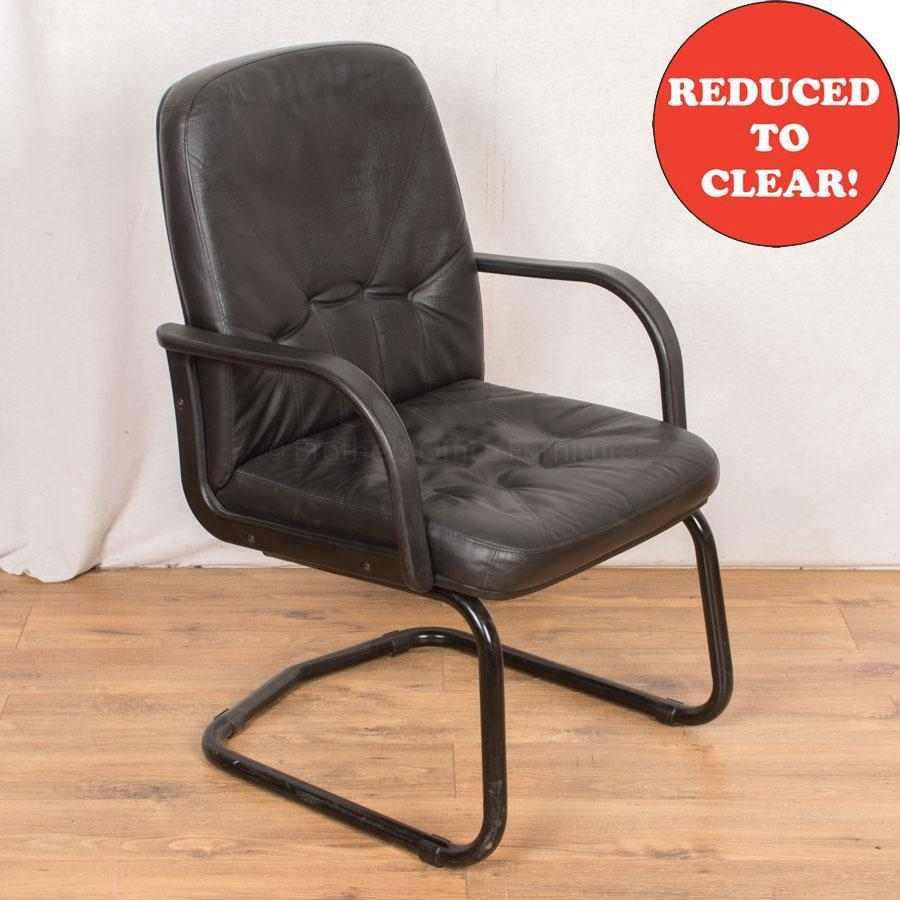 Black Leather Meeting Chair (MC178)