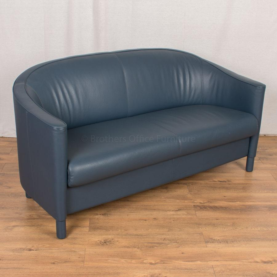 Knoll Blue Leather Reception Tub Sofa