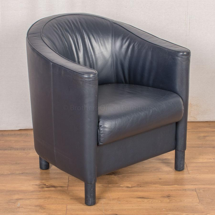 Knoll Blue Leather Reception Tub Chair