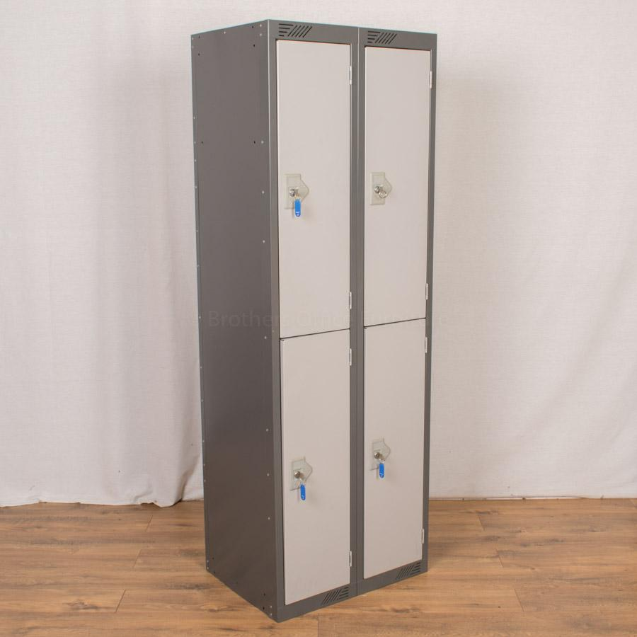 Set of 2 Two Tone Grey 2 Tier Lockers