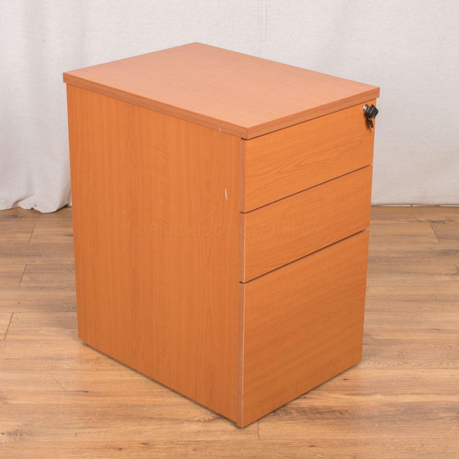 Cherry 3 Drawer Desk High Pedestal