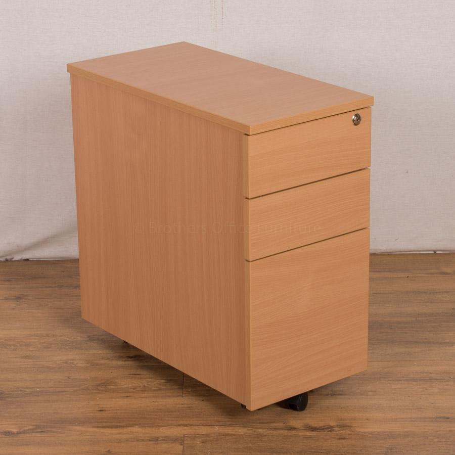 Beech 3 Drawer Slimline Under Desk Pedestal