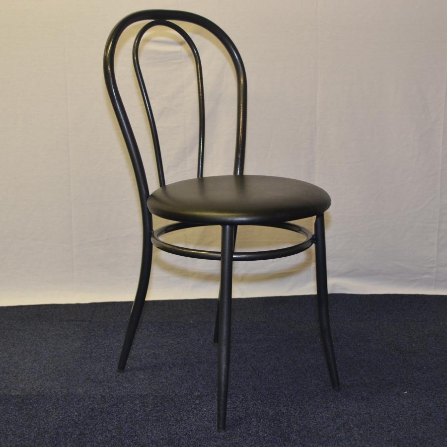 Black Vinyl Metal Frame Dining Canteen Chair