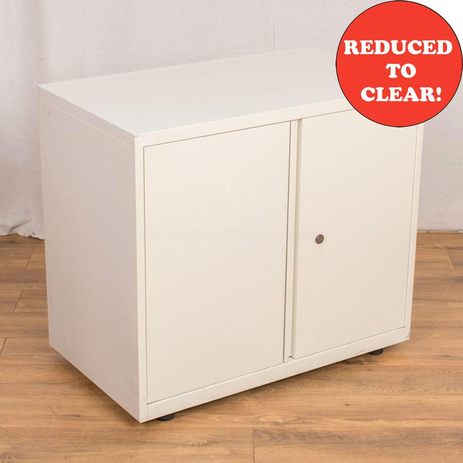 White Steel 800H Storage Cupboard