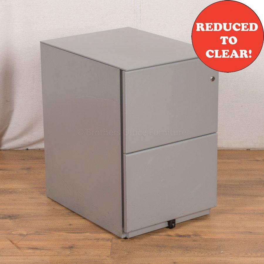 Light Grey Steel 2 Drawer Pedestal (PED25)