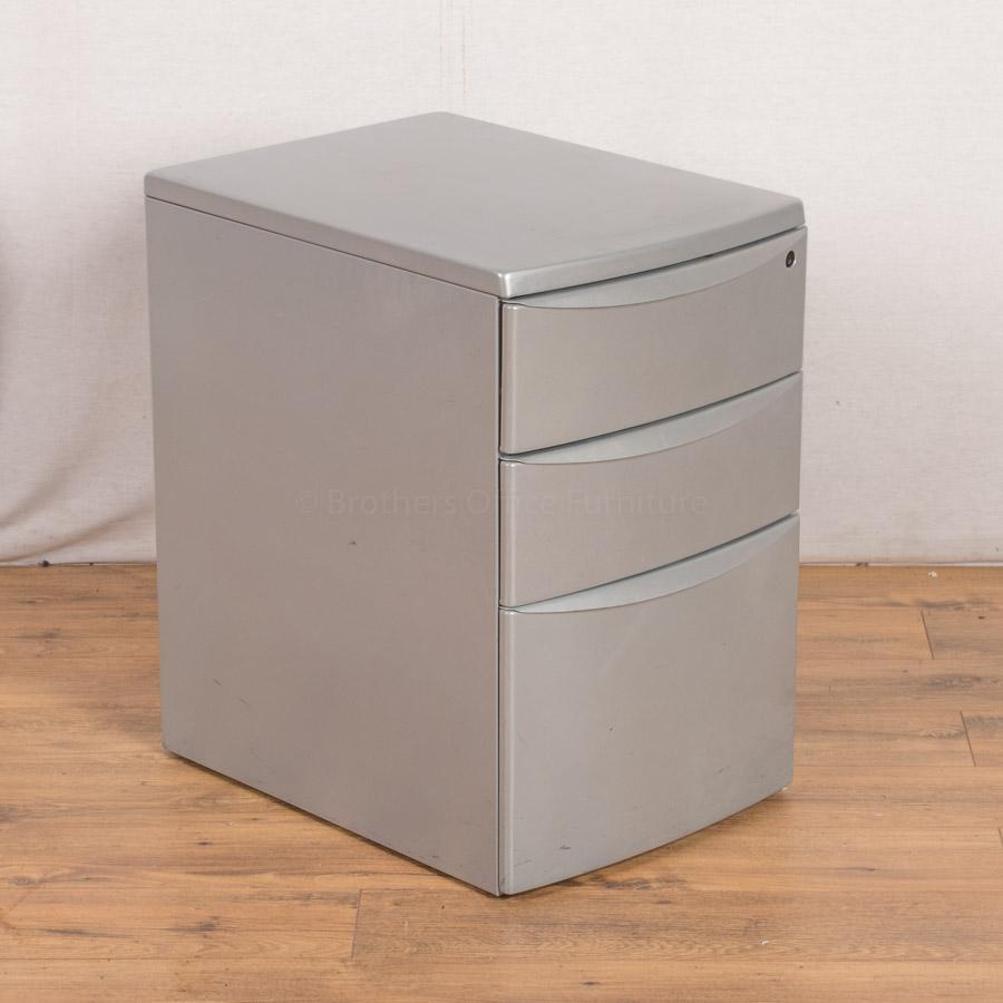 Light Grey Steel 3 Drawer Pedestal (PED22)