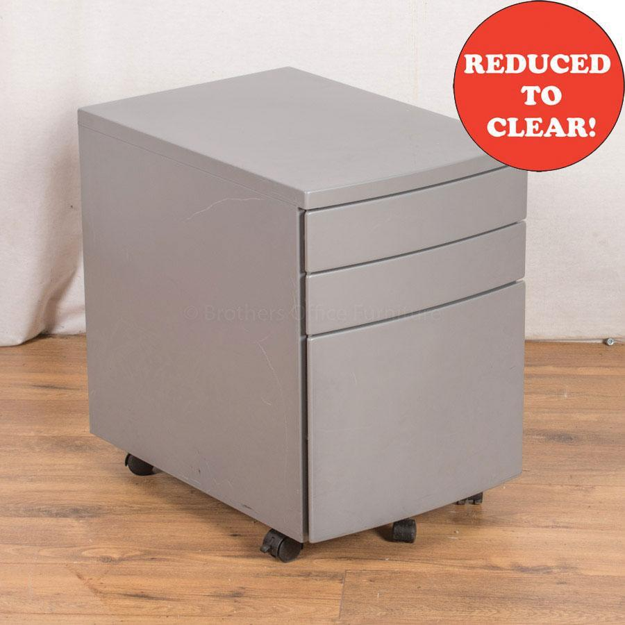 Light Grey Steel 3 Drawer Pedestal (PED27)