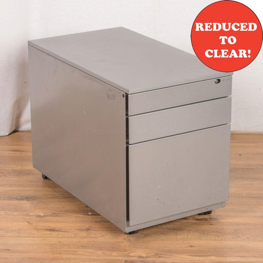 Light Grey Steel 3 Drawer Pedestal (PED29)