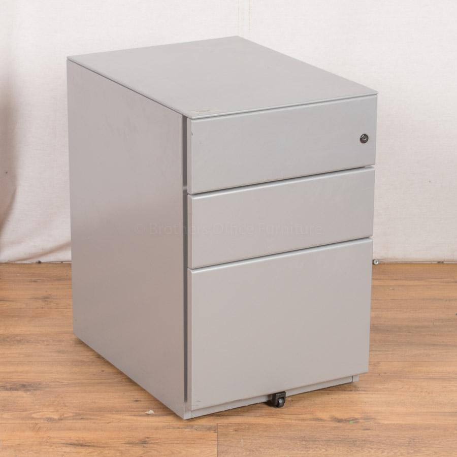 Light Grey Steel 3 Drawer Pedestal (PED24)