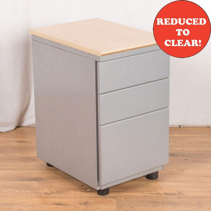 Light Grey Steel 3 Drawer Pedestal (PED34)
