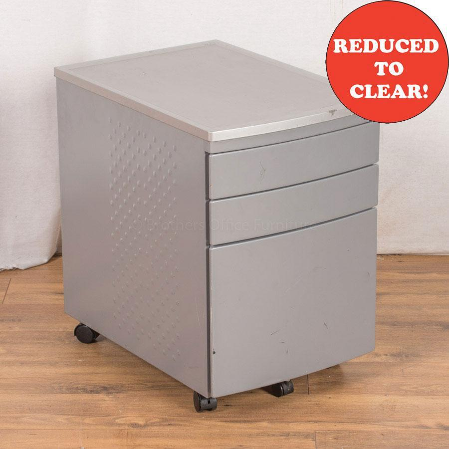 Light Grey Steel 3 Drawer Pedestal (PED23)