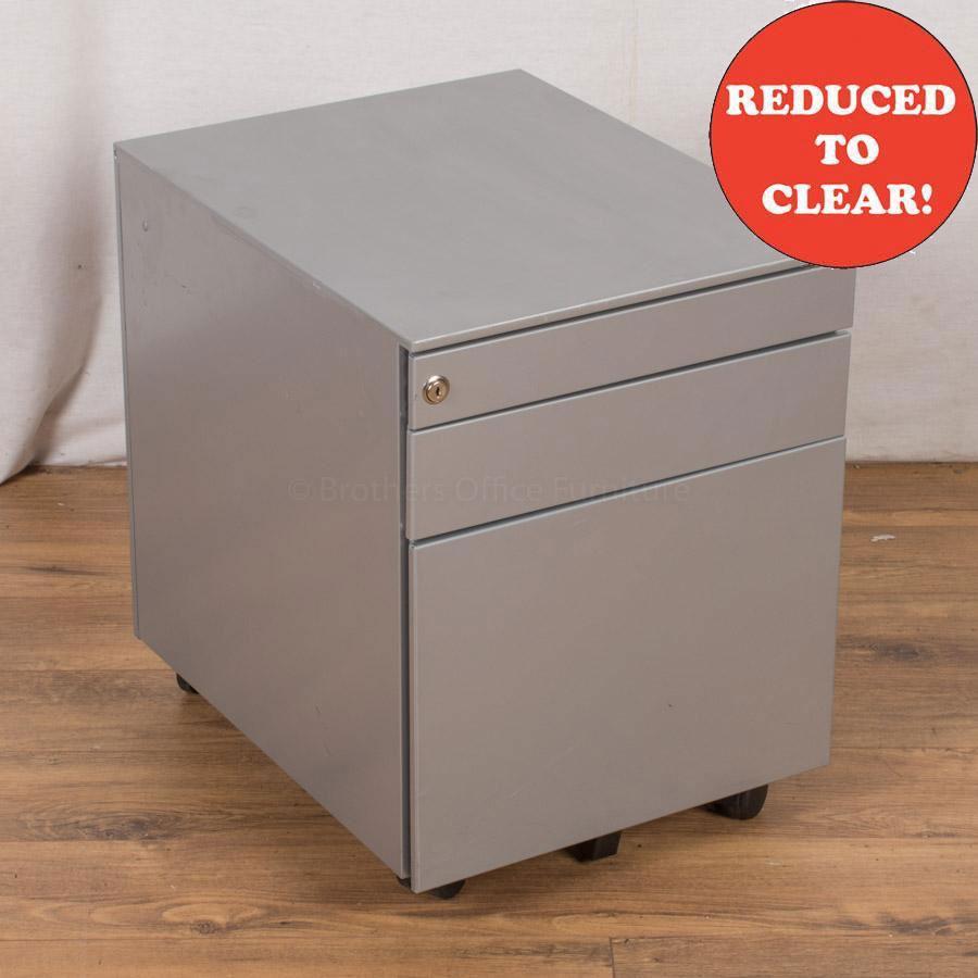 Light Grey Steel 3 Drawer Pedestal (PED35)