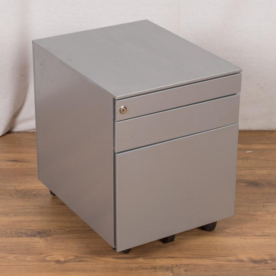 Light Grey Steel 3 Drawer Pedestal (PED35)