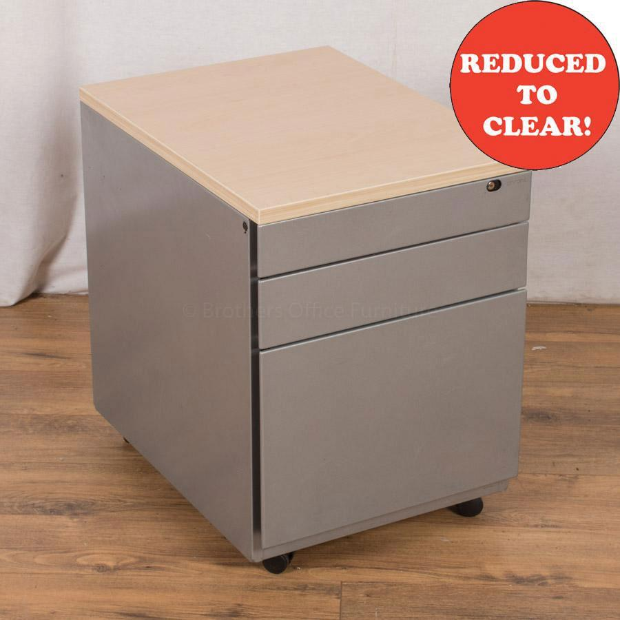 Ahrend Light Grey Steel 3 Drawer Pedestal (PED38)