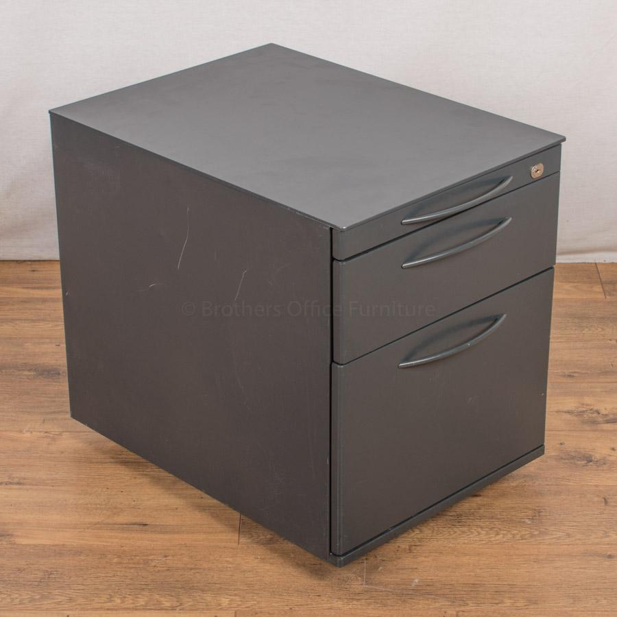Dark Grey Steel 3 Drawer Pedestal (PED39)