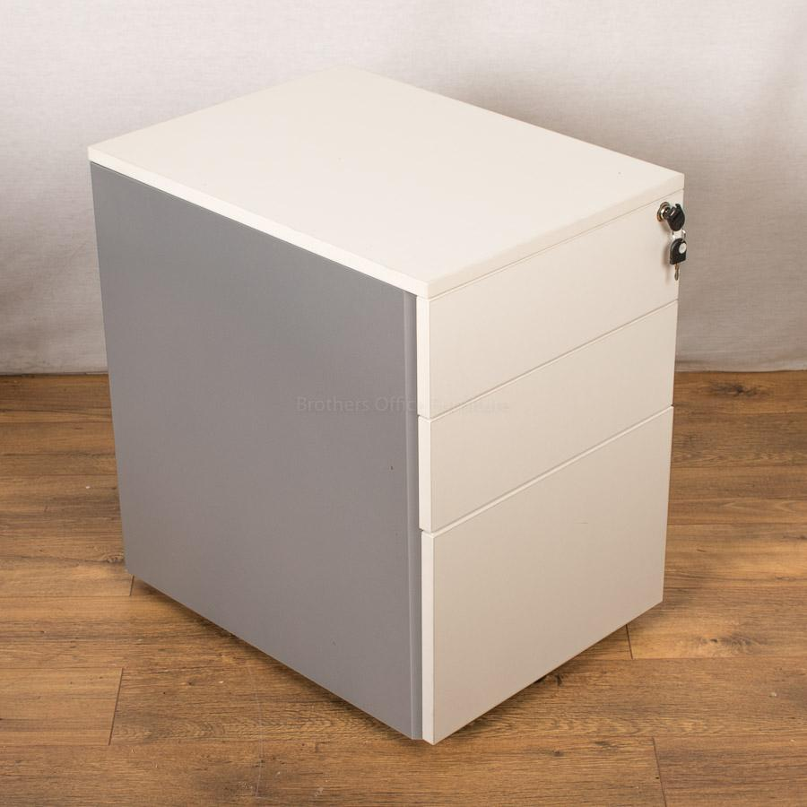 White/Steel 3 Drawer Mobile Pedestal