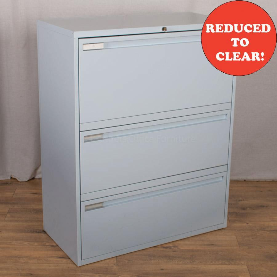 KI Sky Blue 3 Drawer Side Filing Cabinet
