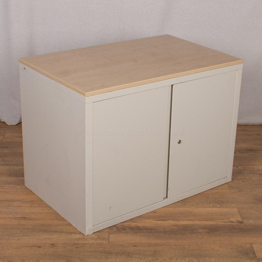 White/Maple 700H Office Cupboard