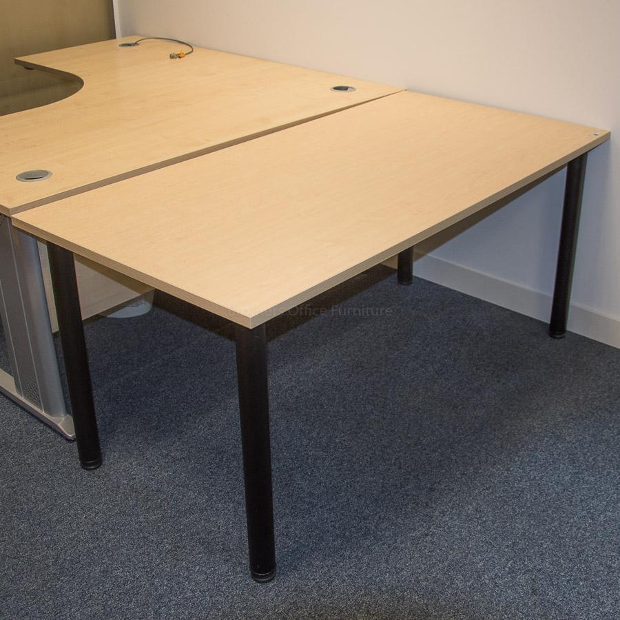 Kentec Maple 1600x800 Office Table   Black Leg