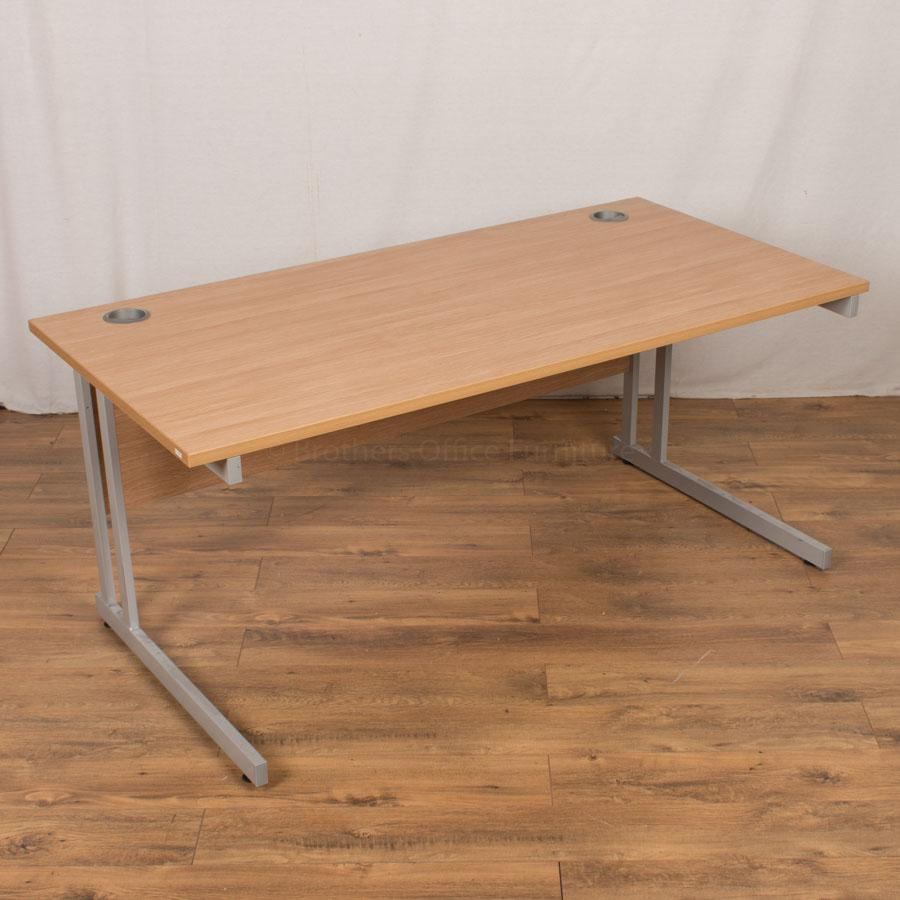 Light Oak 1600x800 Straight Desk