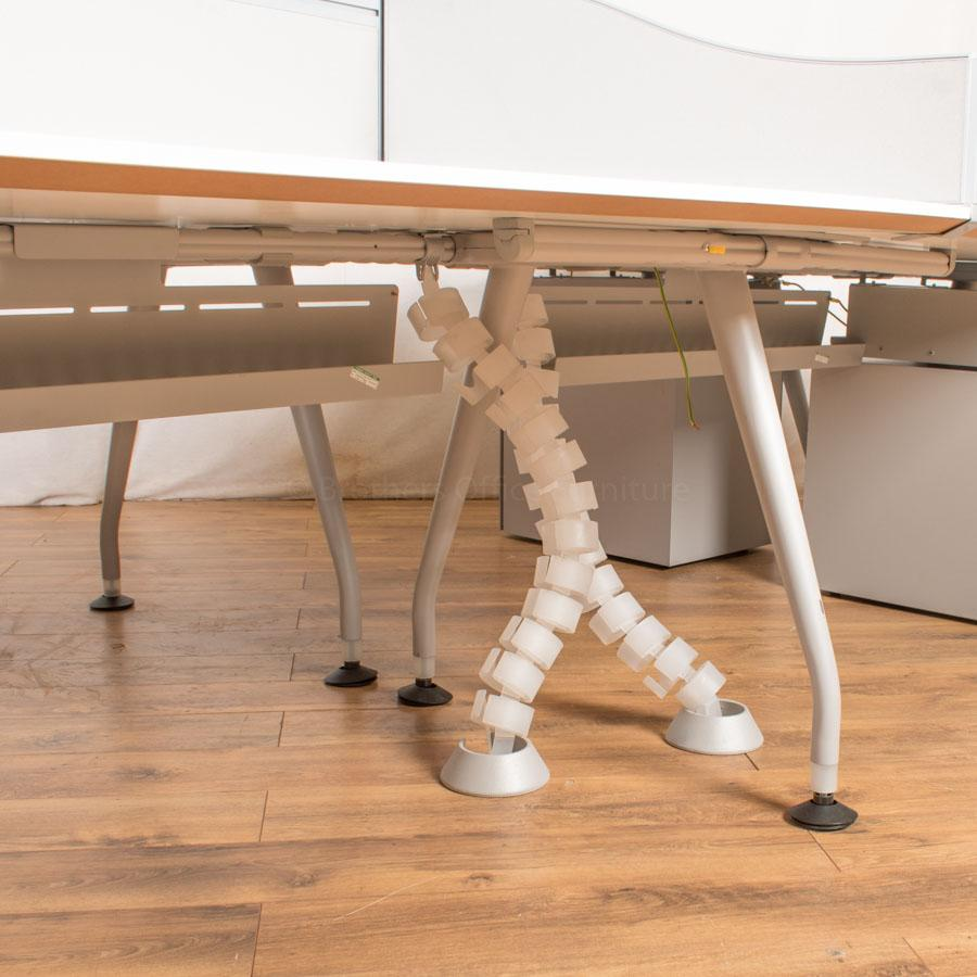 Knoll Scope White Double Wave Bench Desks