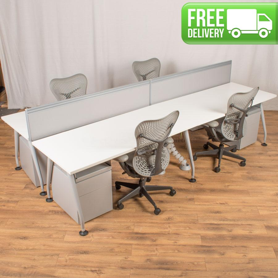 Knoll Scope White Straight Bench Desks