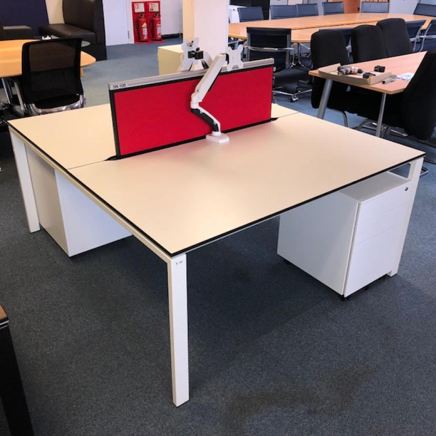 Bene T-Workstation White Bench Desks