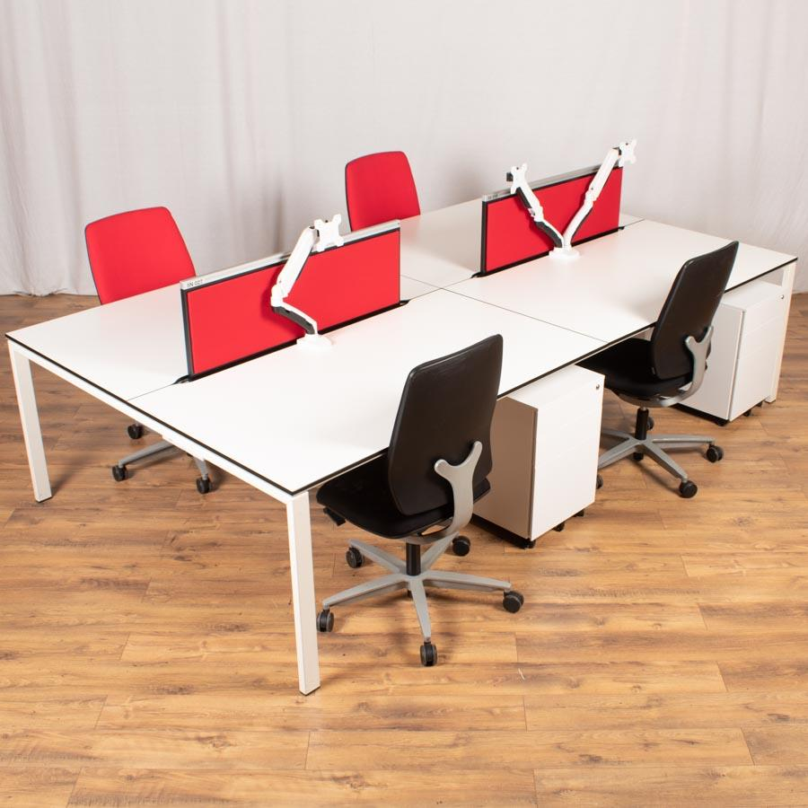Bene T-Workstation White/White Bench Desks