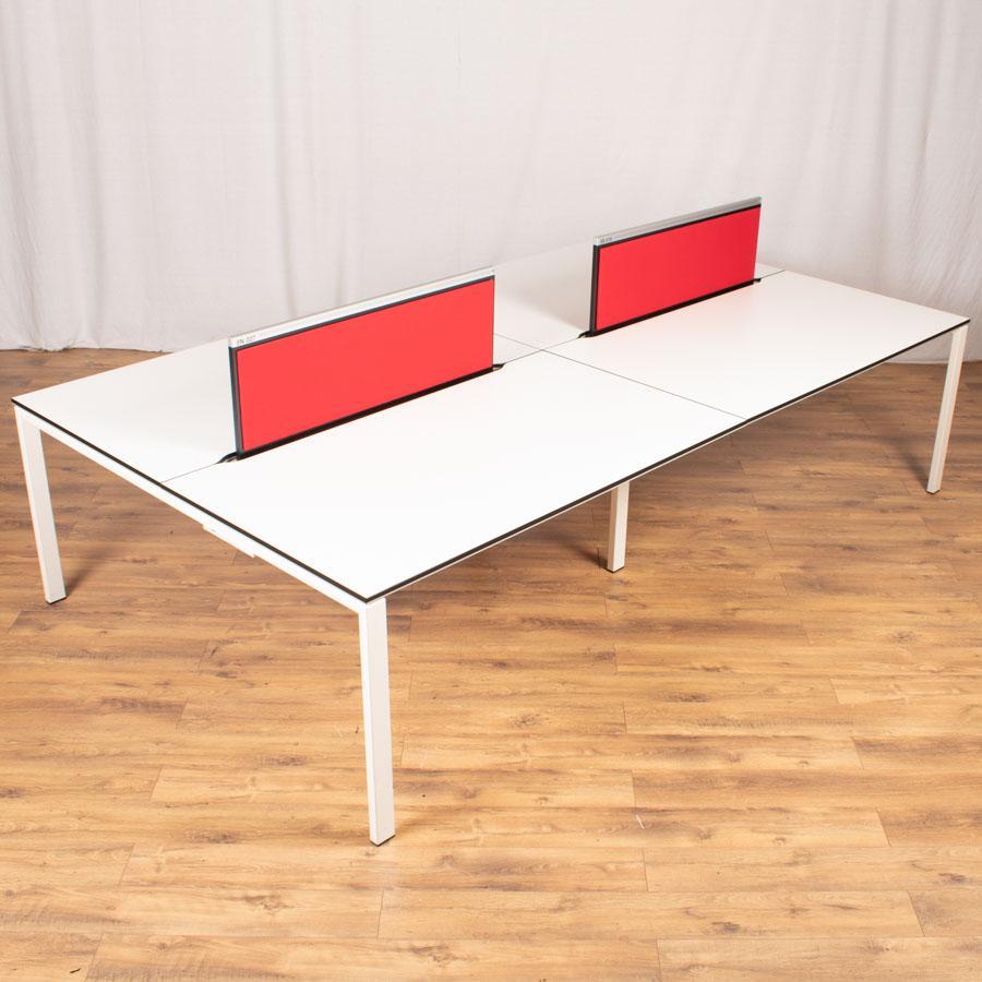 Bene T-Workstation White/White Bench Desks