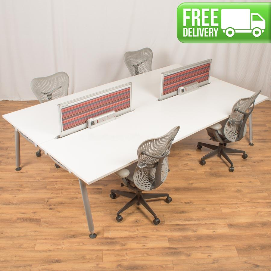 Herman Miller Abak White Bench Desks