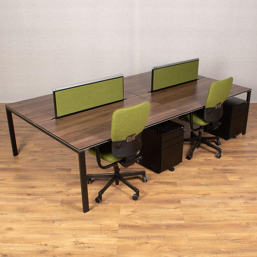 Bene T-Workstation Walnut/Black Bench Desks