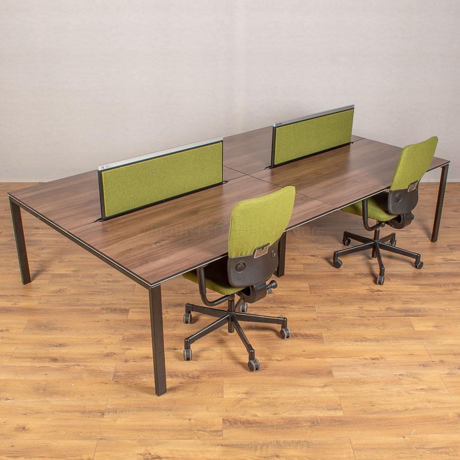 Bene T-Workstation Walnut/Black Bench Desks
