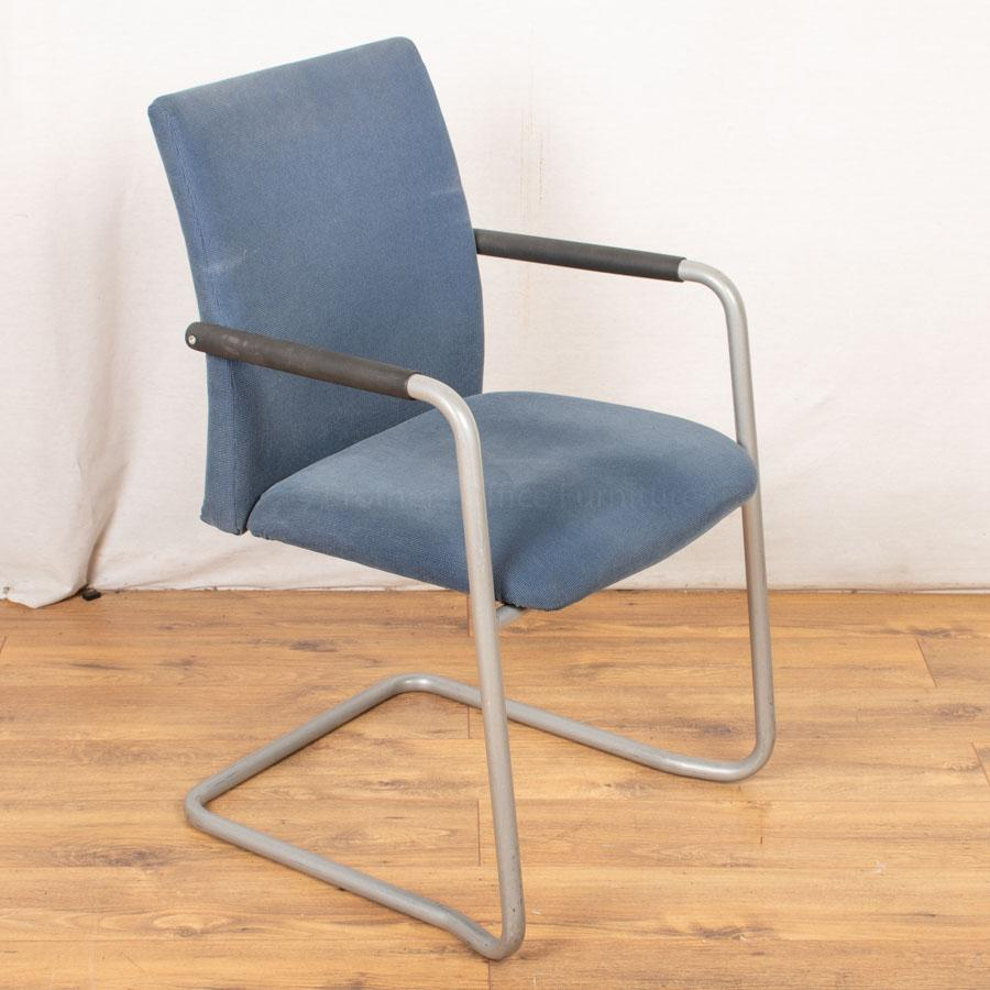 Corded Blue Cantilever Meeting Chair