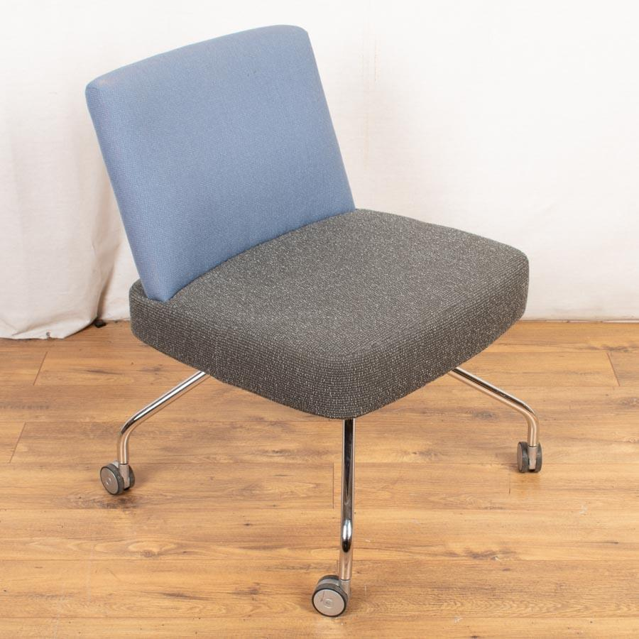 Grey/Blue Swivel Breakout Chair