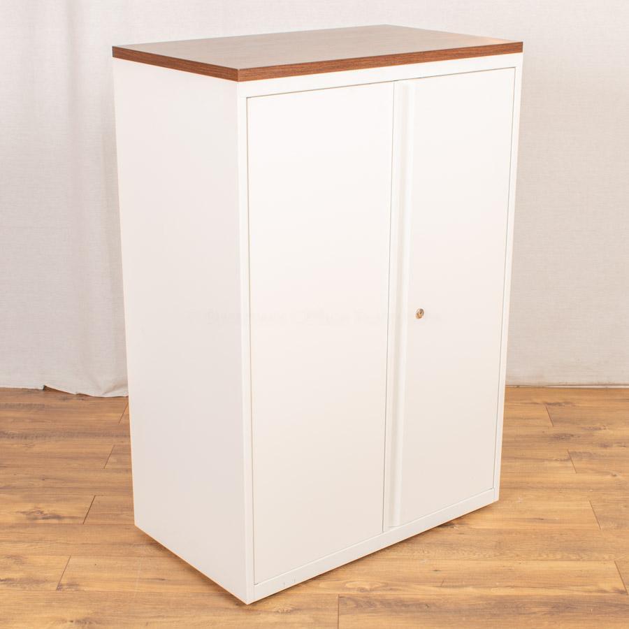 White/Walnut 1175H Office Cupboard