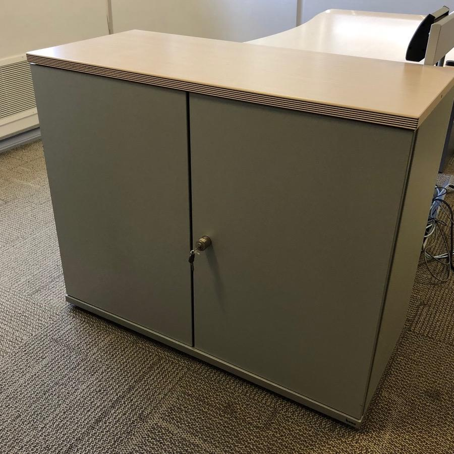 Bene Maple/Silver 830H x 800W Office Cupboard