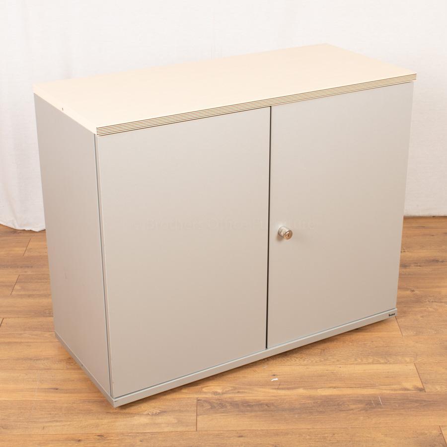 Bene Maple/Silver 830H x 1000W Office Cupboard