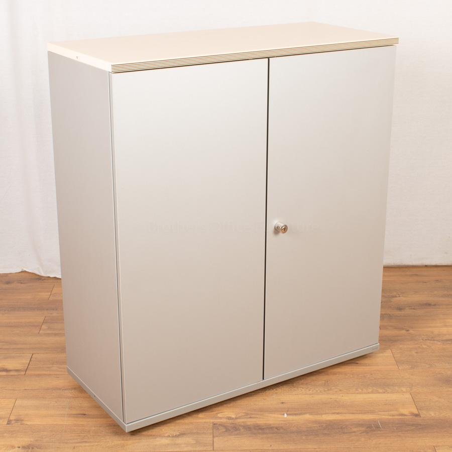 Bene Maple/Silver 1130H x 1000W Office Cupboard
