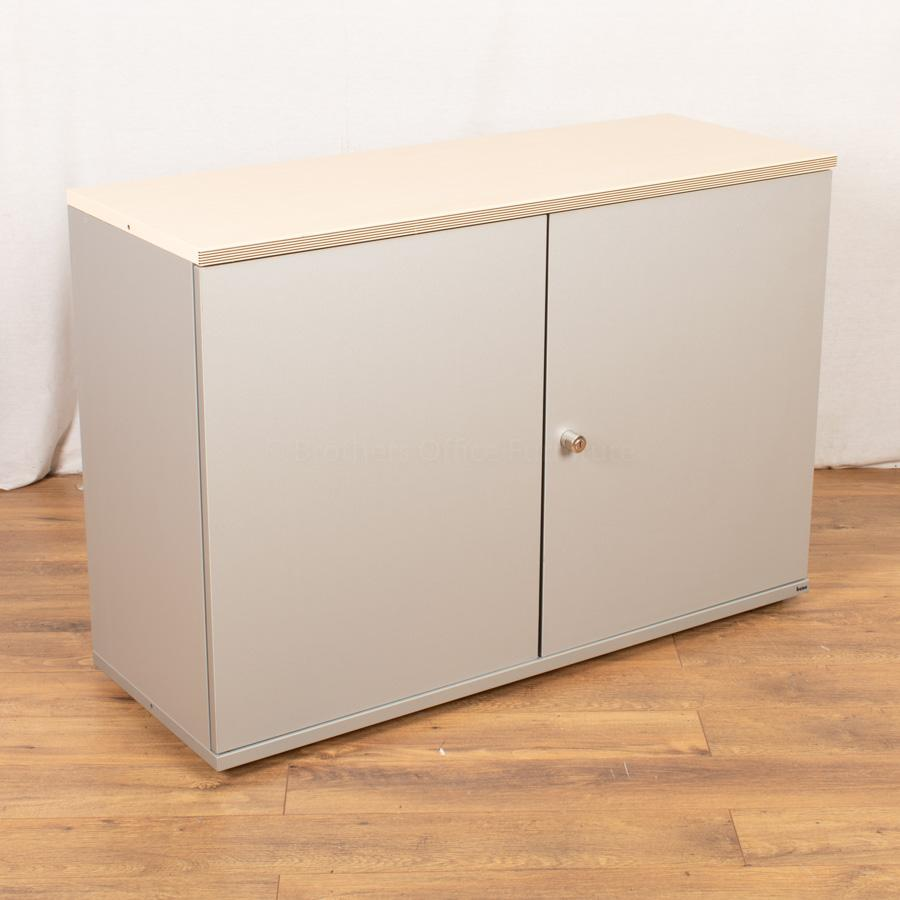 Bene Maple/Silver 830H x 1200W Office Cupboard