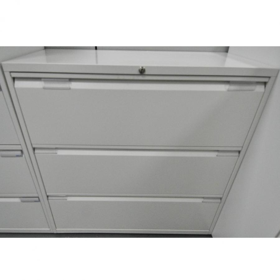 Bisley Light Grey 3 Drawer Side Filing Cabinet