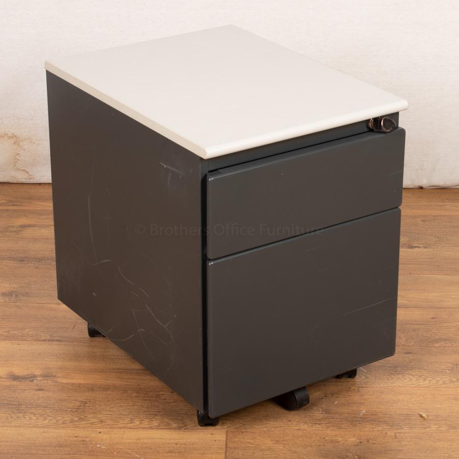 Steelcase Dark Grey 2 Drawer Pedestal (PED46)