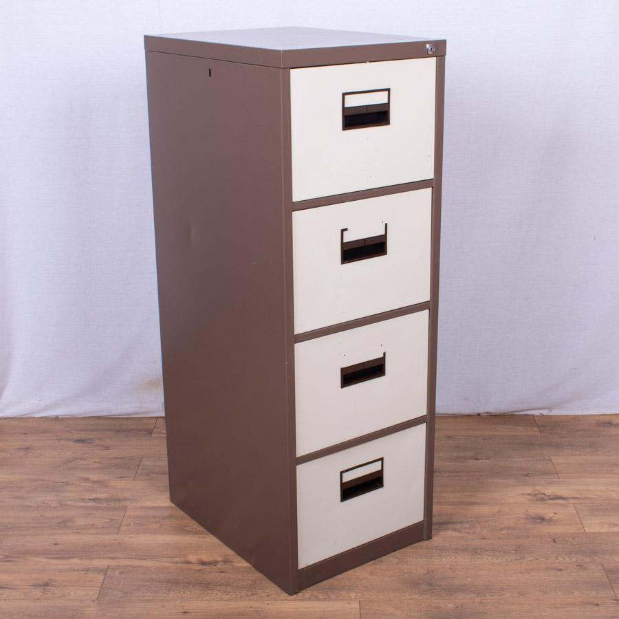 Brown/Cream 4 Drawer Filing Cabinet (FC77)