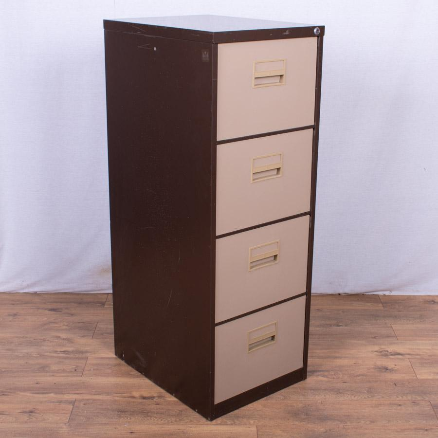 Brown/Cream 4 Drawer Filing Cabinet (FC80)